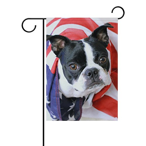 YZGO Memorial Day Boston Terrier Garden Flag Home Polyester Fabric Mildew Resistant Welcome House Yard Banner,12x18 Inch -