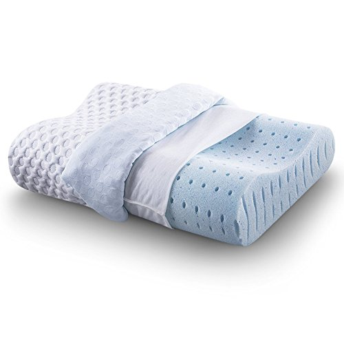 CR COMFORT & RELAX Ventilated Memory Foam Contour Pillow with AirCell Technology, Standard, 1-Pack, ()