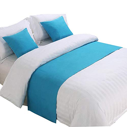 YIH Bed Scarf and Runners with Matching Throw Pillow Covers, 94 Inches by 19 Inches, Bed End Scarf for Bedroom Decor Hotel Guesthouse (And Bed Scarves Matching Pillows)