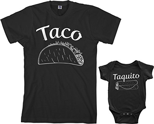 Threadrock Taco & Taquito Infant Bodysuit & Men's T-Shirt Matching Set (Baby: 12M, Black|Men's: L, Black)]()