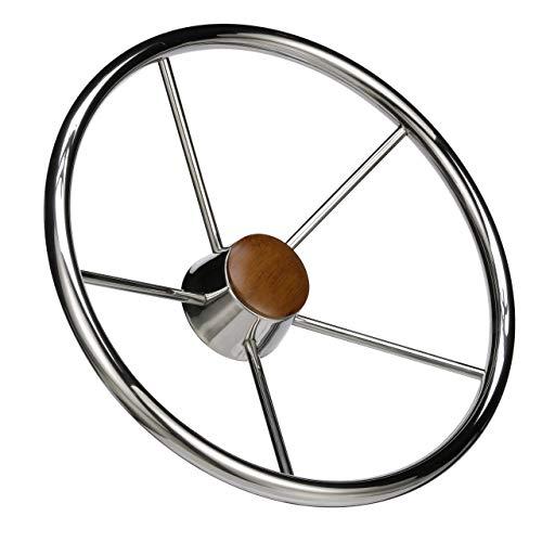 Seachoice 28551 5-Spoke Destroyer Steering Wheel - Stainless Steel - Genuine Teak Center Cap, Chrome, 15-inch Diameter