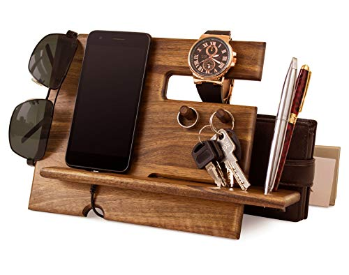 Wood Phone Docking Station Walnut Key Hooks Holder Wallet Stand Watch Organizer Men Gift Husband Anniversary Dad Birthday Nightstand Purse Tablet Boyfriend Father Graduation - Wallet Ring Key Purse