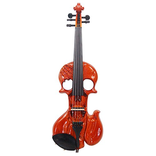 Kinglos 4/4 Solid Wood Advanced 5-STRING Skull Electric/Silent Violin Kit with Ebony Fittings Full Size (WXDS-1914) ()