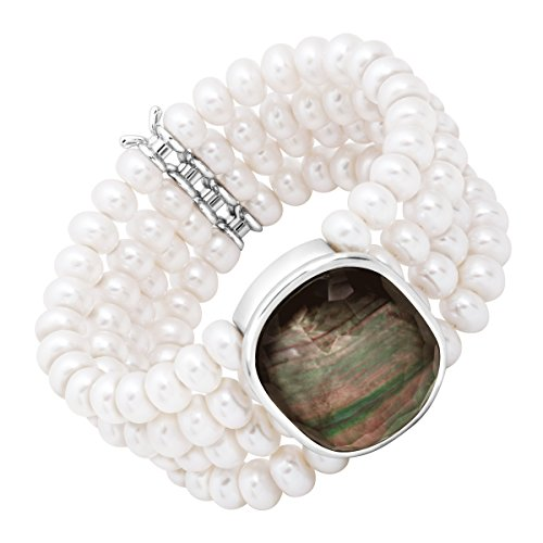 Honora 4-Row Freshwater Cultured Pearl & Black Mother-of-Pearl Doublet Stretch Bracelet in Sterling Silver by Honora