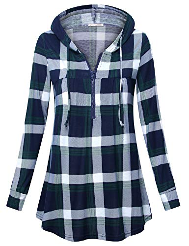 Messic Plaid Long Sleeve Shirts for Women, Women's Cute Zip up V Neck Petite Tee Shirt Comfy Loose Fitting Casual Gingham Tunic Tops Utility Checkered Shirts for Leggings Green Blue M