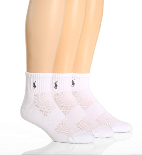 Polo Ralph Lauren Tech Athletic Quarter Socks 3-Pack, One Size, (Polo Ralph Lauren Moisture)