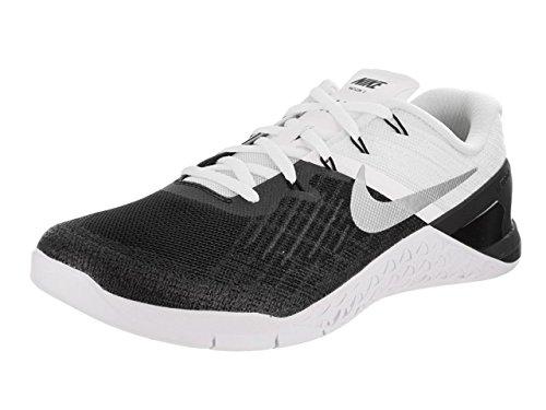NIKE Men's Metcon 3 Black/White Metallic Silver Training Shoe 11 Men US