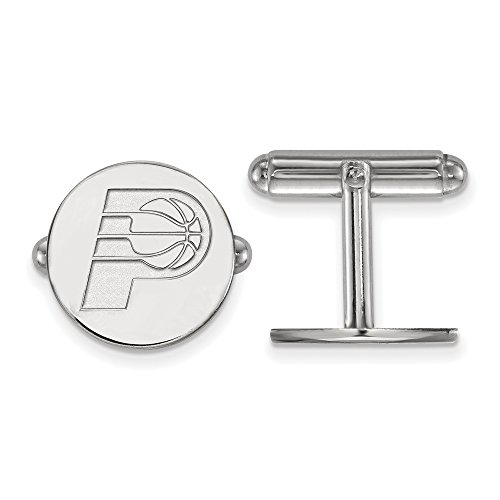 NBA Indiana Pacers Cuff Links in Rhodium Plated Sterling Silver by LogoArt