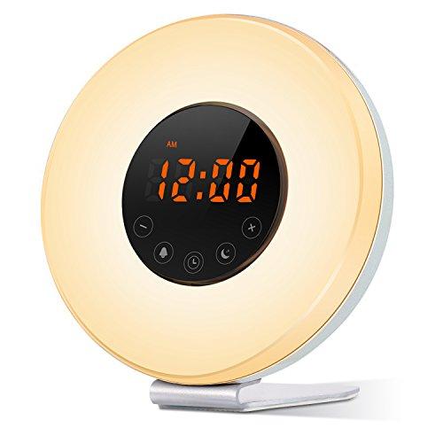 Sunrise Simulator Alarm Clock, Wake Up Light With 6 Nature Sounds, FM Radio, Touch Control, Sunset Simulation and Aviation Aluminum Stent (White)