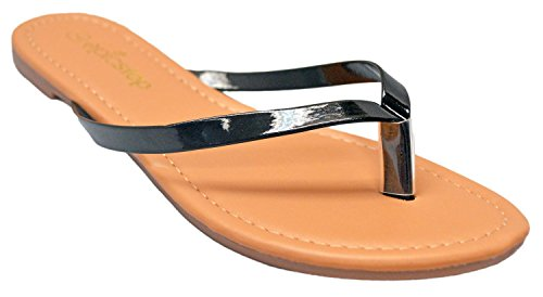 Women's Basic Patent Flat Thong Sandal Simple Thong Slip On Summer Casual Flat Sandals Shoes (7, Black) (Sandal Patent Thong)