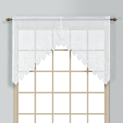 United Curtain Valerie Lace Sheer Swags, 52 by 38-Inch, White, Set of 2