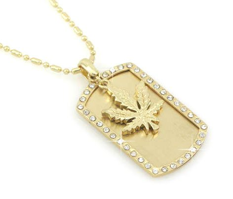 Marijuana Weed Leaf - Dog Tag Pendant Coved With Rhine Stones Gold Tone Necklace Pendant-free Chain
