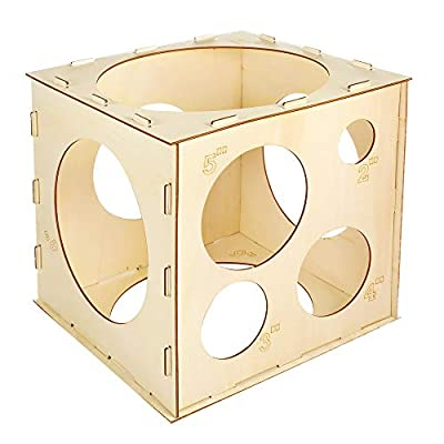 Pllieay 9 Sizes Collapsible Wood Balloon Sizer Cube Box for Birthday Wedding Party Decorations