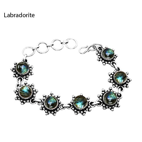 17.50ctw,Genuine Labradorite & 925 Silver Plated Bracelet by Sterling Silver Jewelry (Image #2)