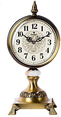 時計レトロリビングルームの装飾ヨーロッパデスクトップクロック寝室ミュート振り子時計12インチメタル芸術的な片面 時計機構