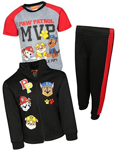 Nickelodeon Paw Patrol Boys 3-Piece Fleece Zip Jacket Jogger T-Shirt Set, Black, Size 2T'