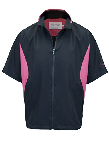 ProQuip - Sale! Women's Jessica Half-Sleeve Golf Rain & Wind Jacket - Black & Coral - XS