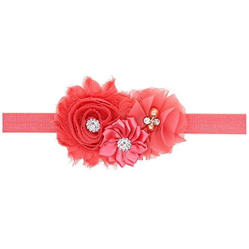 LD DRESS Lovely Baby Girl Headbands Rhinestone Flower Princess (28) (Watermelon Red) ()