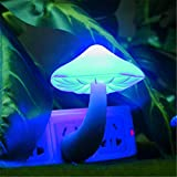 jieGREAT Colorful Energy Saving Mushroom LED Night Light Sensor Control Lamp Bedside Wall (Blue)