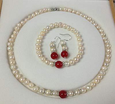 FidgetKute 7-8mm Real White Akoya Cultured Pearl/Red Jade Bracelets Necklace Earrings Set ()