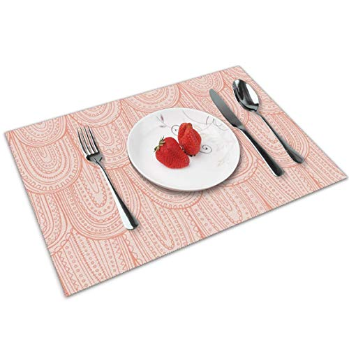 Luase Inscribed Blush Pink Tonal Scale Table Placemats for Dining Table,Washable Placemat Heat-Resistant Set of 6(12X18 inch)