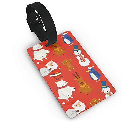 Luggage Tags Holders for Travel Luggage, Luggage Tags for Suitcases, Santa and Animals Plastic PVC Luggage Tags Suitcase Labels Travel Bag ID ()