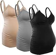 Vteiu Seamless Nursing Tank Tops Cami Maternity Shirt Nursing Bras for Breastfeeding