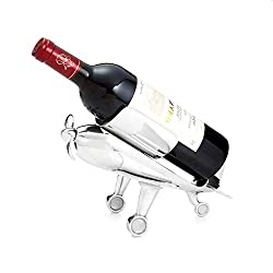 Beautiful Airplane Wine Bottle Holder With Corkscrew, Stainless Steel Wine Caddy, Tabletop Drinking Stand, Free Standing Decorative Wine Rack, Aviation Design, Bar Decor Ideal For Flying, Bartender,