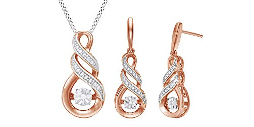 Dancing Natural Diamond Infinity Jewelry Set In 14K Rose Gold Over Sterling Silver