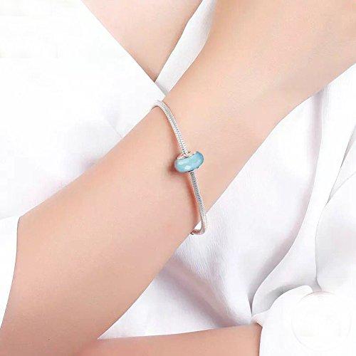 Blue pandora murano glass beads