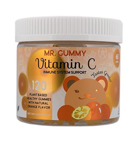 Mr Gummy Vitamins C Supplement | Delicious Orange Taste | Gluten & Gelatin Free | Support Immunity, Fight Off Infections | [120 Gummies, 60-Day Supply] | Kids Vitamins