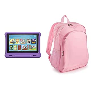 Fire HD 10 Kids Tablet 32GB Purple with Amazon Exclusive Kids Tablet Backpack, Pink