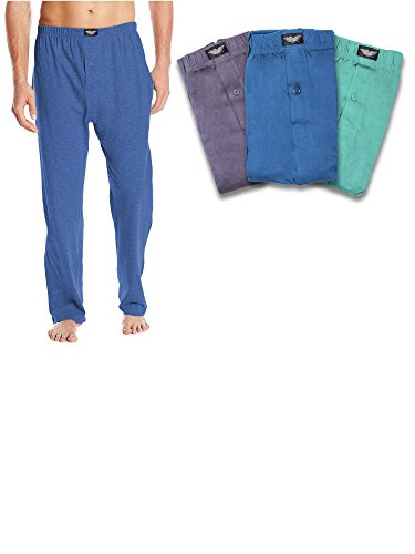 American Active Men's Light & Soft Cotton Yoga PJ Lounge Sleep Pant -Pack of 3 (X-Large 40-42, Pack of 3 - Teal Blue / Green / Carbon Gray) (Pj Sleep)