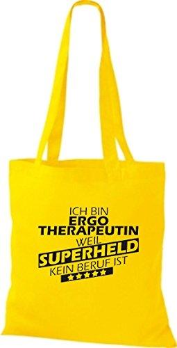 Shirtstown Stoffbeutel Ich bin Ergotherapeutin, weil Superheld kein Beruf ist goldgelb