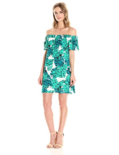 CLAYTON Women's Amalia Off The Shoulder Dress, Frond, ()