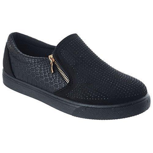 Miss Image UK Femmes Diamant à Enfiler Fermeture Éclair Plat Chaussures Tennis Fermeture Éclair Baskets Pointures Noir Crocodile / Cuir Suédé p6NH1DN