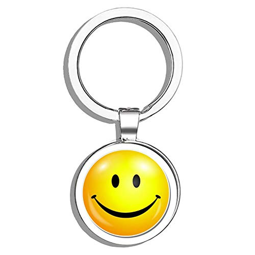 (HJ Media Smiley Face Metal Round Metal Key Chain Keychain Ring)
