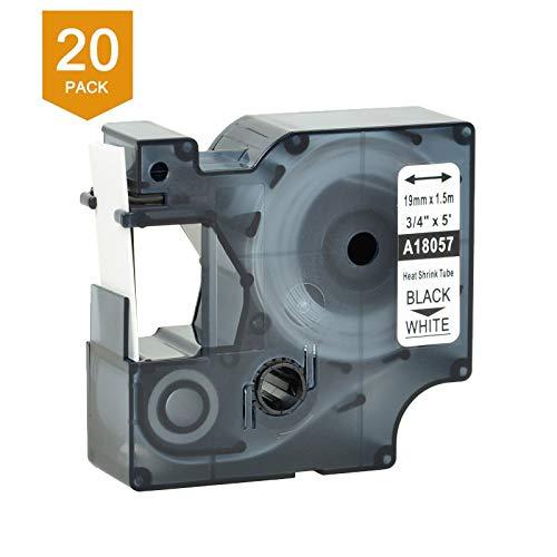 (Nineleaf 20 PK Compatible for DYMO 18057 Rhino Heat Shrink Tube Industry Label Tape 3/4