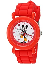 Boy's 'Mickey Mouse' Quartz Plastic and Silicone Casual Watch, Color:Red (Model: WDS000142)