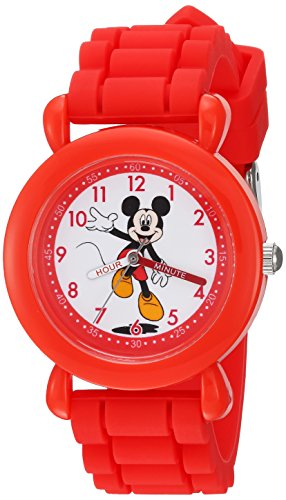 Disney Boy's 'Mickey Mouse' Quartz Plastic and Silicone Casual Watch, Color:Red (Model: WDS000142)