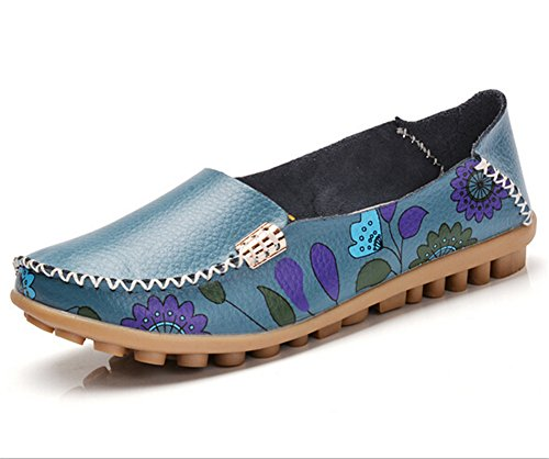 Lucksender Womens Flower Print Casual Flat Loafer Shoes Blue o4r4e2YM