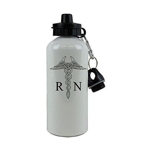 Personalized Custom Nurse Rn Aluminum White 20 Ounce Sport Water Bottle Customizable
