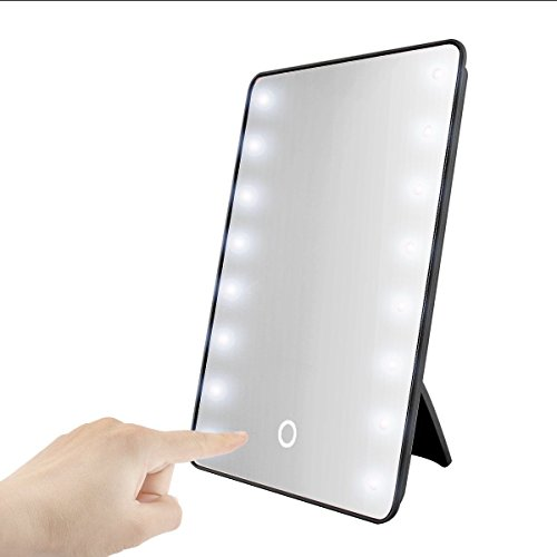 Price comparison product image JUJU MALL-Portable 16 LEDs Lighted Touch Screen Makeup Cosmetic Mirror Tabletop Bathroom