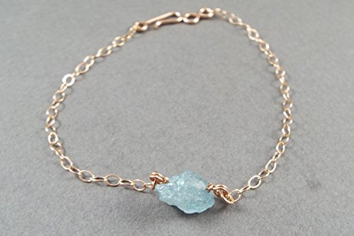 - Raw Aquamarine Simple Bracelet Rose Gold Filled (Large)