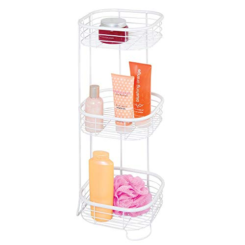 mDesign Square Metal Bathroom Shelf Unit - Free Standing Vertical Storage for Organizing and Storing Hand Towels, Body Lotion, Facial Tissues, Bath Salts - 3 Shelves, Steel Wire - White
