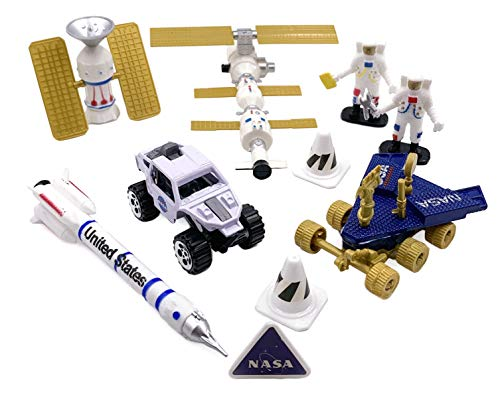 (Amazing Quality Space Explorer Toy Set - 2 Astronauts, 2 Space Rovers, 1 Rocket Ship, 2 Hi-Tech Satellites, Safety Signs, and Traffic Cones. Perfect Space Toys for Boys and)