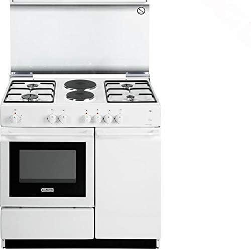 Cocina de gas con horno eléctrico, 4 fuegos + 2 placas, 86 x 50 cm, color blanco SEW 8542 N ED