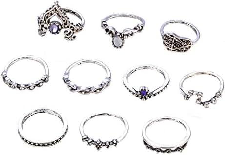 RoseSummer Beach Jewelry Bohemian Vintage Diamond Crown Hollow Carved Ring Set