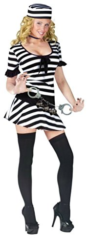 Funworld Womens Sexy Mug Shot Fantasy Prisoner Convict Adults Halloween Costume, S/M (2-8) (Convict Lady Plus Size Costume)