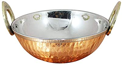 Copper Stainless Steel 34 OZ Serving Bowl Karahi for Ice Cream, Noodles, Salad, Cereal, Rice, Pasta, Fruit, Dessert, Handmade Hammered Style Heat Insulated Double Walled Multipurpose Bowl, 7.1 Inch